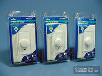 3 Leviton White Decora Rotary Dimmer Switches 3-Way 600W Incandescent RPI06-WWP