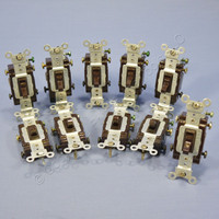 10 Leviton DOUBLE POLE Brown Framed Toggle Switch Controls Commercial Grade 20A 120/277V 54522-2