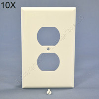 10 Cooper White Mid-Size 1-Gang Unbreakable Receptacle Wallplate Outlet Nylon Covers PJ8W