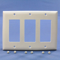 Pass and Seymour White Trademaster® 3-Gang Decorator Unbreakable Nylon Wallplate Cover TP263-W