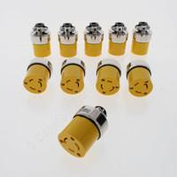 10 Cooper Yellow Armored Commercial Grade Nylon Connectors NEMA L10-20 20A 125/250V 3-Pole 3-Wire Back Wire 2355