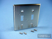 Leviton NON-MAGNETIC Stainless Steel 2-Gang Toggle Switch Cover Wallplate Switchplate 84009-40