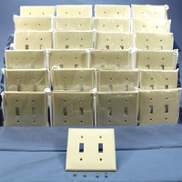 25 Leviton Light Almond UNBREAKABLE 2-Gang Switch Cover Wallplate Switchplates 80709-T