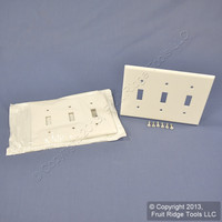2 Leviton White Standard Size 3-Gang Toggle Switch Cover Wallplate Plastic Switchplates 88011