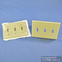 2 Leviton Ivory 3Gang Toggle Switch Cover Standard Size Plastic Wallplates 86011