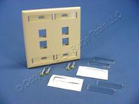 Leviton Ivory Quickport 4-Port ID Window Flush Wallplate 2-Gang Cover High-Impact Plastic 42080-4IP