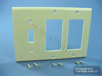 Leviton Ivory 3-Gang 2 Decora & 1 Toggle Switch Cover Wallplate GFCI GFI 80431-I