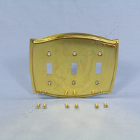 Creative Accents Solid Brass Triple Toggle Switch Plate Cover 3G Wallplate 15053