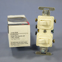 Cooper Almond DOUBLE Wall Toggle Light Switch Duplex 15A Single Pole 3-Way 275A