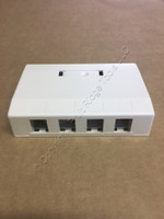 Hubbell OFFICE WHITE 4-Port Data Voice Multimedia Surface Housing Mount ISB4OW