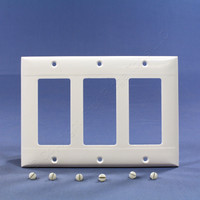 Pass and Seymour White Standard Size 3-Gang Decorator Thermoset Wallplate Cover SP263-W
