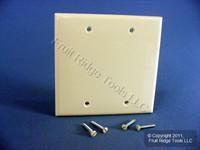 Leviton Almond 2-Gang Blank Box Mount Unbreakable Nylon Wallplate Cover 80725-A
