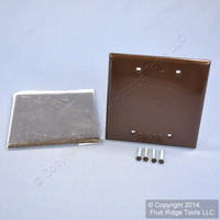2 Leviton Brown 2-Gang Blank Unbreakable Wallplate Nylon Plastic Covers 80725