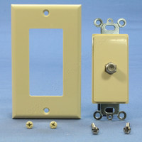 Leviton Ivory Decora 1-Gang F-Type Coaxial Cable Jack Insert Wallplate C2448-I