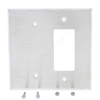 Leviton Stainless Steel 2-Gang OVERSIZE Blank Decora Receptacle Outlet Cover Jumbo Wallplate 90002-S30