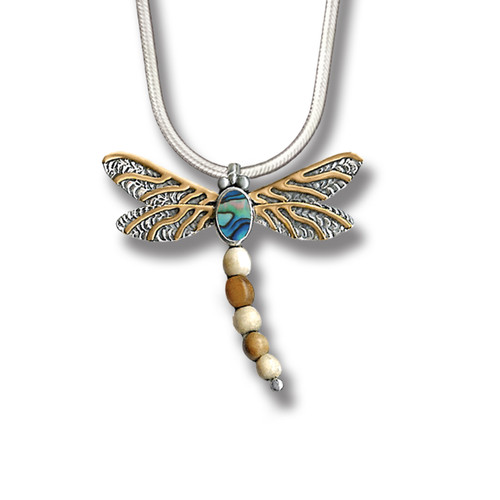 Silver Dragonfly Pendant Paua Jewelry with Fossilized Walrus Tusk, 14kt Gold Fill - Dragonfly II