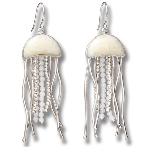 Fossilized Walrus Ivory Jelly Fish Earrings, Rainbow Moonstone Handmade Silver - Jelly Fish