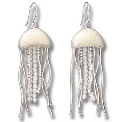 Fossilized Walrus Ivory Jelly Fish Earrings, Rainbow Moonstone Handmade Silver - Jelly Fish