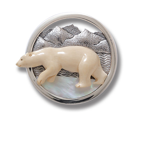 Mammoth Ivory Polar Bear Pendant Necklace or Pin with Mother of Pearl - Vanishing Ice Cap