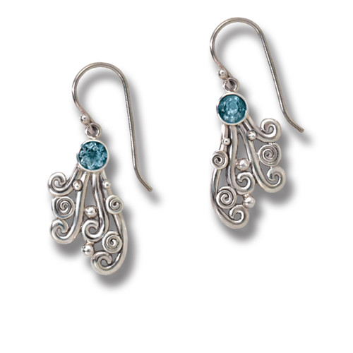 Handmade Unique Silver Jewelry Silver Blue Topaz Earrings - Spray