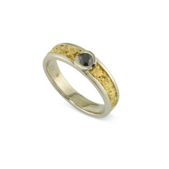 14 Karat White 6x4 MM Natural Gold Nugget Channel Ring Tapered with .37 CT Black Diamond Size 9.5