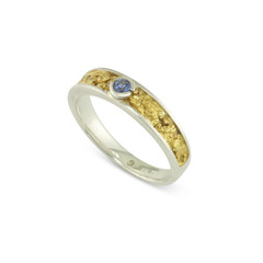 925 Silver 4x3 MM Natural Gold Nugget Channel Ring Tapered Size 7 With 2.8 MM Yogo Sapphire