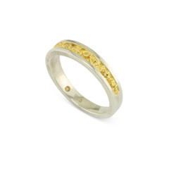 925 Silver 4x2 MM Natural Gold Nugget Channel Ring Tapered Size 7