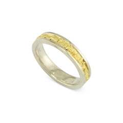 925 Silver 4 MM Natural Gold Nugget Channel Ring Straight Size 7