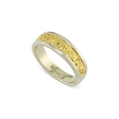 925 Silver 6x4 MM Natural Gold Nugget Channel Ring Tapered Size 6.75