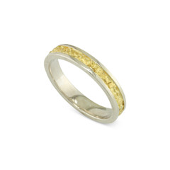 925 Silver 4 MM Natural Gold Nugget Channel Ring Tapered Size 10