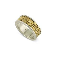 925 Silver 8 MM Natural Gold Nugget Channel Ring Straight Size 10.5