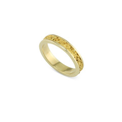 14 Karat Yellow 4x2 MM Natural Gold Nugget Channel Ring Tapered Size 7
