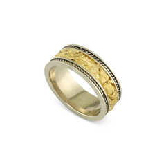 14 Karat White 8 MM Natural Gold Nugget Channel Rope Ring Straight Size 11