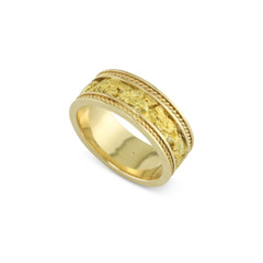 14 Karat Yellow 8 MM Natural Gold Nugget Channel Rope Ring Straight Size 9