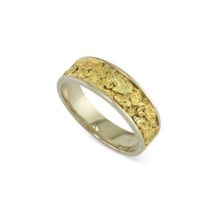14 Karat White 8x6 MM Natural Gold Nugget Channel Ring Tapered Size 12