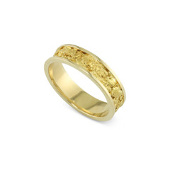 14 Karat Yellow 6 MM Natural Gold Nugget Channel Ring Straight Size 11
