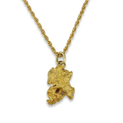 1.2 DWT Natural Gold Nugget Pendant With 14 Karat yellow Gold Bail with Display Chain