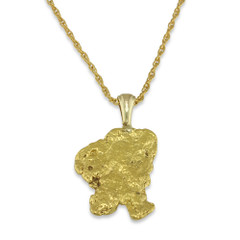 2.2 DWT Natural Gold Nugget Pendant With 14 Karat yellow Gold Bail with Display Chain