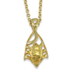 1.8 DWT Natural Gold Nugget Pendant With 14 Karat yellow Gold Bail with Display Chain