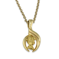 1.80 DWT Natural Gold Nugget Pendant With 14 Karat yellow Gold Bail with Display Chain