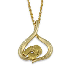 1.800 DWT Natural Gold Nugget Pendant With 14 Karat yellow Gold Bail with Display Chain