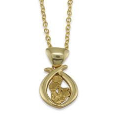 1.40 DWT Natural Gold Nugget Pendant With 14 Karat yellow Gold Bail with Display Chain