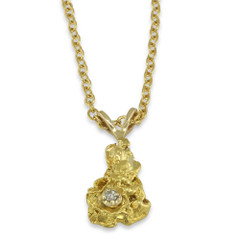 1.2 DWT Natural Gold Nugget Pendant with Diamond and 14 Karat yellow Gold Bail with Display Chain