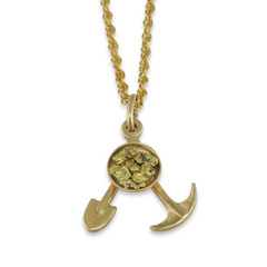 14 Karat Yellow Natural Gold Nugget Gold Pan Tools pendant with 14 Karat Yellow Bail and Display Chain