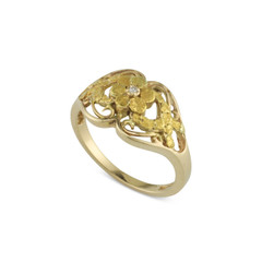 14 Karat Yellow Lady's Natural Gold Nugget Flower and Diamond Ring Size 7