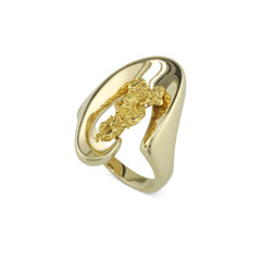 14 Karat Yellow Lady's Floating Natural gold Nugget Ring Size 6.75