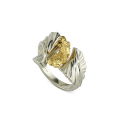 925 Silver Natural gold Nugget Ring with 7.0 DWT Nugget Size 7