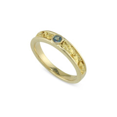 14 Karat Yellow 4x2 MM Natural Gold Nugget Channel Ring Tapered Size 7 With .15 CT Natural Alexandrite
