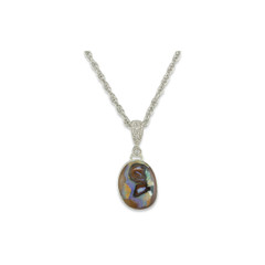 3.75ct Boulder Opal with sterling silver bail and .03ctw Diamond Sterling bail