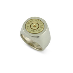 925 Silver 45 auto Signet Ring Size 5.5